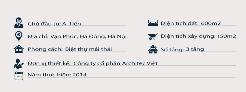 Thông tin chung về thiết kế biệt thự 3 tầng mái thái đẹp 150m2 tại Vạn Phúc