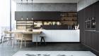 thiết kế nội thất phòng bếp với tone màu đen trắng 1