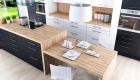thiết kế nội thất phòng bếp với tone màu đen trắng 13