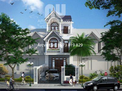 Thiết kế biệt thự liền kề 3 tầng tân cổ điển nhà chị Lan1