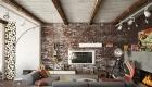 thiết kế nội thất phòng khách ấm áp với tường gạch thô 9