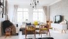 thiết kế nội thất phòng khách ấm áp với tường gạch thô 11