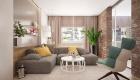 thiết kế nội thất phòng khách ấm áp với tường gạch thô 7