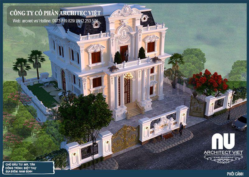 hình ảnh kiến trúc biệt thự tân cổ điển 3 tầng 220m2