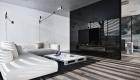 thiết kế nội thất phòng khách đơn giản với gam màu đen trắng- 7