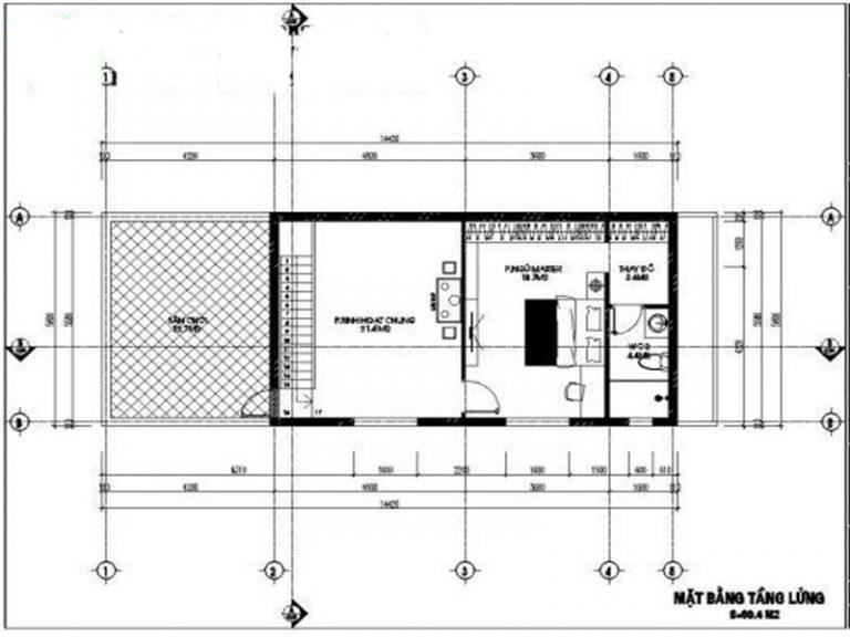 nhà 1 tầng có gác lửng 60m2 tiện nghi