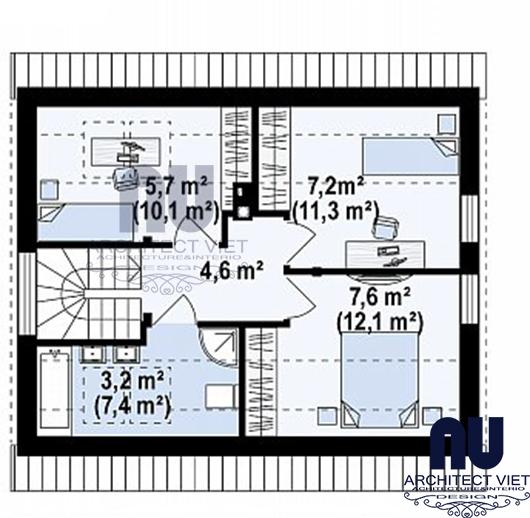 Mb gác xép của ngôi nhà cấp 4 giả biệt thự 63m2