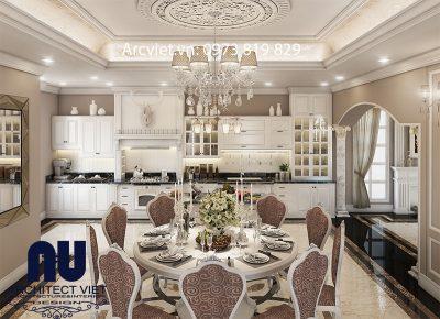 Phòng bếp + ăn của biệt thự 1 trệt 2 lầu 240m2