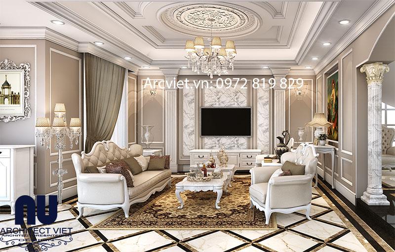 Không gian phòng khách cho mặt bằng biệt thự 3 tầng đẹp