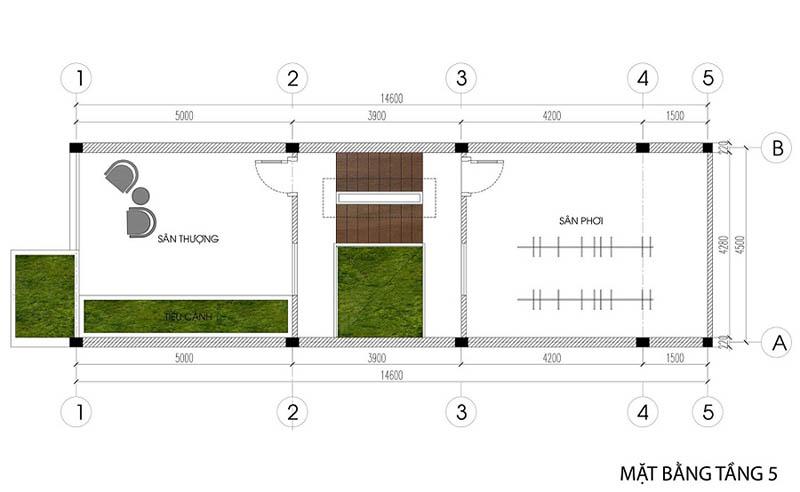 cách bố trí công năng tầng 5 của nhà phố diện tích nhỏ 4.5x14.6m