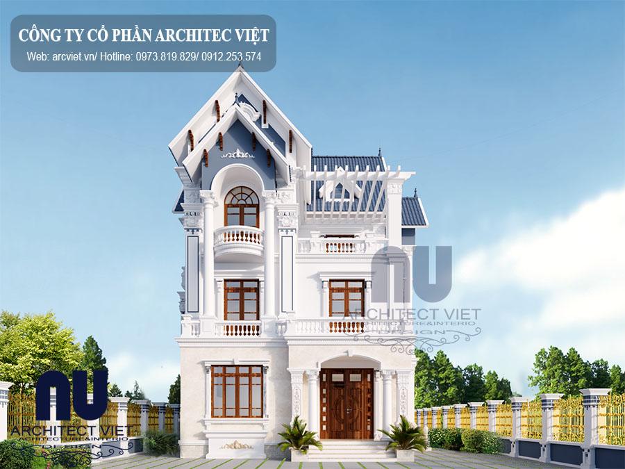 Thiết kế biệt thự pháp 3 tầng mặt tiền 10m