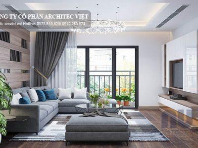 mẫu nội thất phòng khách chung cư hiện đại 80m2