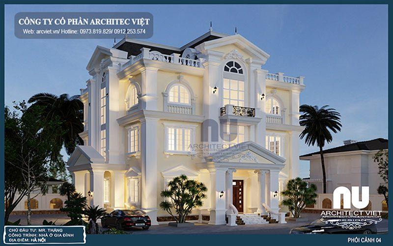 góc nghiêng biệt thự 3 tầng tân cổ điển 190m2 với màu sơn trắng nhã nhặn
