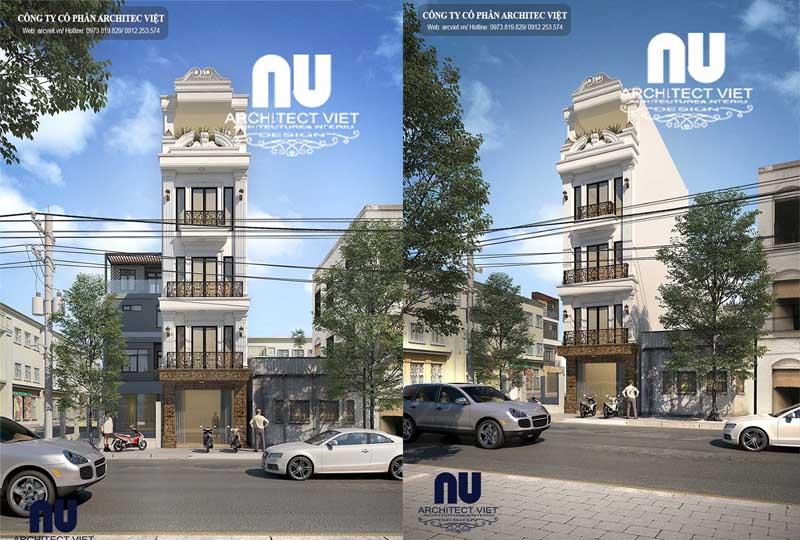 thiết kế nhà phố 5 tầng tân cổ điển 80m2