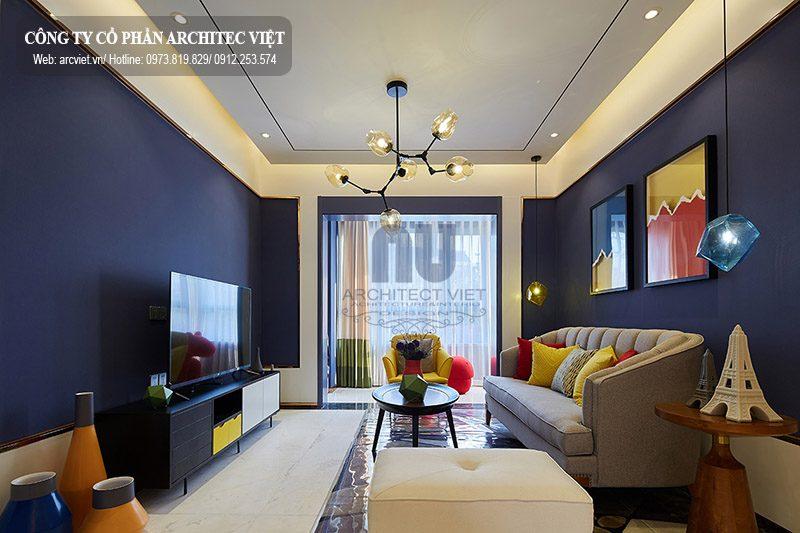 thiết kế nội thất chung cư hiện đại 89m2 với phòng khách thoáng rộng