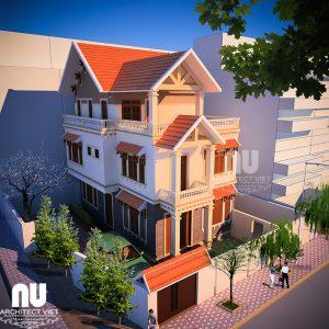 mẫu nhà mái thái 3 tầng 120m2