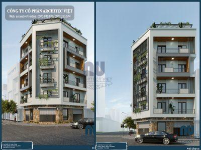thiết kế nhà phố 5 tầng 90m2 kết hợp kinh doanh