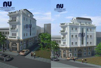 thiết kế nhà phố có gara ô tô 4x14m