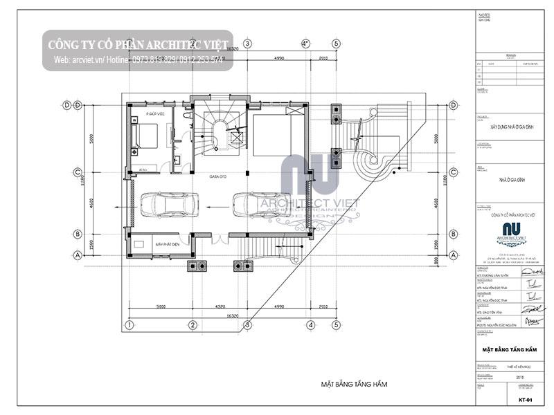 Chi tiết bản vẽ mặt bằng cách bố trí công năng tầng hầm căn biệt thự cổ điển 3 tầng