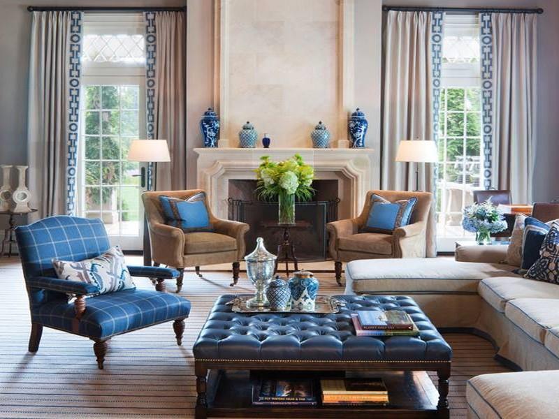 mẫu phòng khách màu xanh dương đẹp