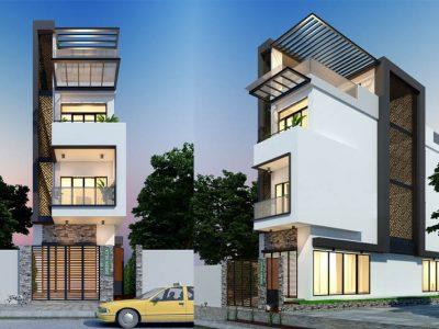 Mẫu nhà phố 3 tầng 1 tum 90m2 với ngoại thất sang trọng