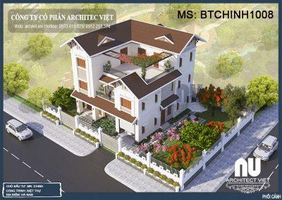 mẫu thiết kế nhà mái thái 3 tầng 460m2 sang trọng