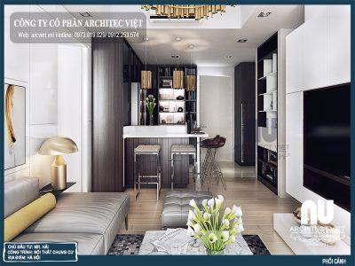 không gian phòng khách mẫu nội thất chung cư hiện đại 66m2