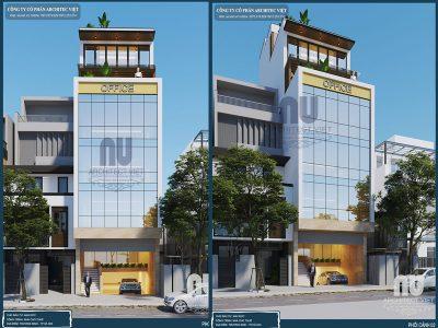 thiết kế thiết kế tòa nhà văn phòng 6 tầng hiện đại mặt tiền 5m