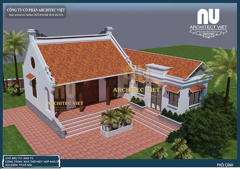 thiết kế nhà ở kết hợp nhà thờ truyền thống