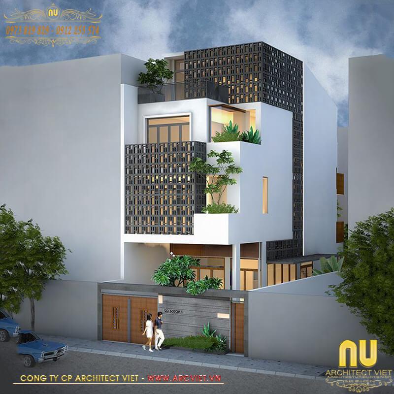 thiết kế nhà lệch tầng 5x14